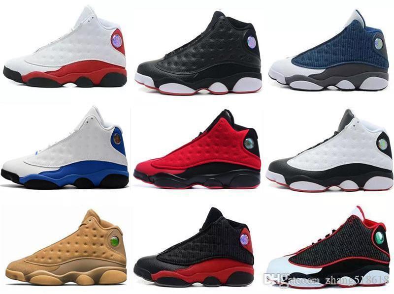2019 avec la boîte 13 13s hommes chaussures de basket-ball GS Hyper royal Italie Bleu Bordeaux Flints Chicago Bred DMP Blé Olive Ivoire Noir Chat US7-US13