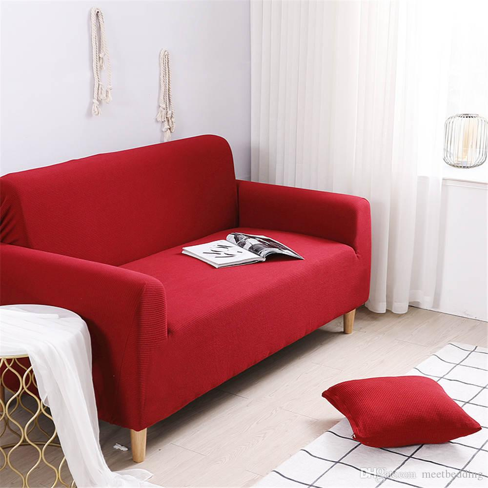 Classical Red color sectional sofa cover elastic with sheet pillow solid color for living room of furniture covers