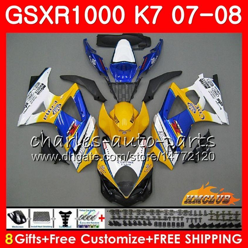 SUZUKI GSXR 1000 GSX-R1000 K7 GSXR-1000 07 08 GSXR-1000 07 GSX R1000 GSXR1000 07 08 2007 2008 Tam Vücut Ki için Sarı Satılık Sıcak Fairing