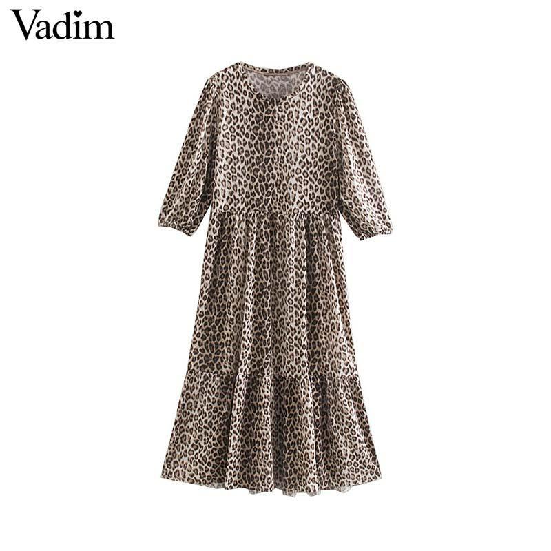 toptan kadın şık leopar desenli maksi elbise üç çeyrek kol hayvan deseni kadın rahat ayak bileği Length Dresses vestidos QC835
