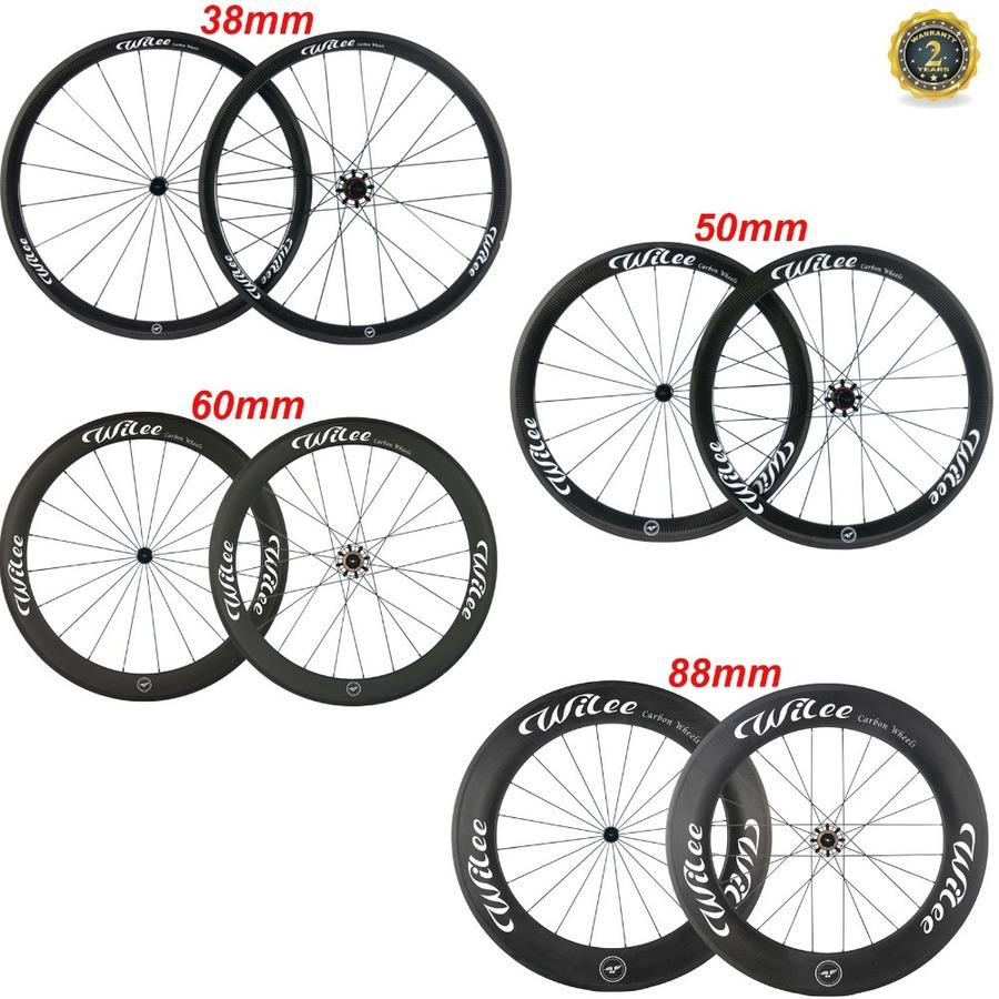 WILEE 700C 38mm 50mm 60mm 88mm depth Tubular Clincher Carbon Wheelset Racing Bicycle Road Bike Cycling Carbon Wheels China Wheel