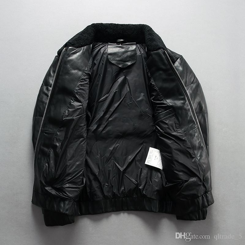 블랙 어린 양 모피 칼라 남성 재킷 아래로 정품 가죽 아래로 채우기 캐주얼 가죽 재킷