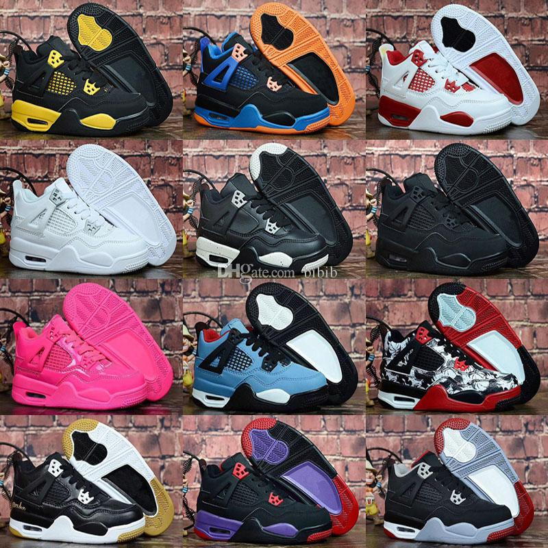 2019 Yeni Jumpman 4 Çocuklar basketbol ayakkabıları Çocuk Açık spor ayakkabı Spor Salonu Kırmızı Chicago Boy Kızlar 4 s lüks Atletik sneakers EUR 28-35