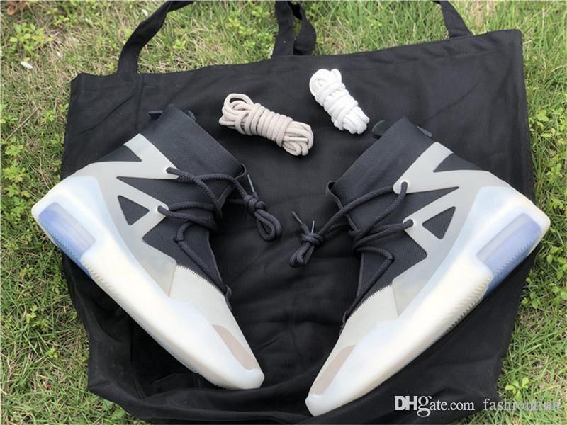 Лучший Аутентичные воздуха Страх Божий 1 Строка Вопрос Тройной Черный FOG Off Noir Овсяная 1S Баскетбол обувь Мужчины AR4237-902 кроссовки с коробкой