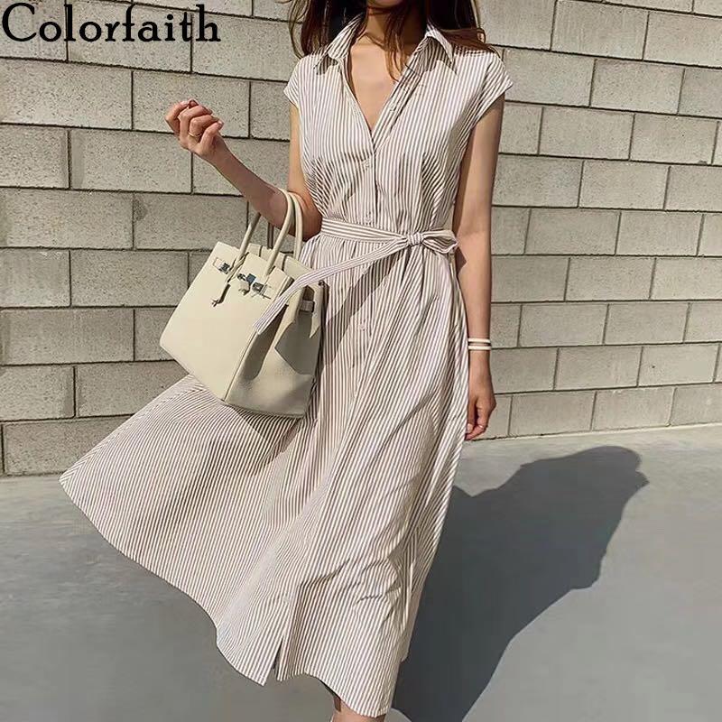 Colorfaith Nuevo 2020 mujeres del verano del vestido de la camisa de los colores sólidos Multi casual sin mangas a rayas de gran tamaño ata para arriba el vestido largo de DR6970 T200623