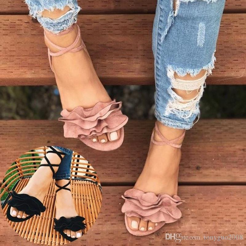 Spring and summer fashion large size flower women shoes cross straps flat soles round toe fish-mouth sandals US size 4-12
