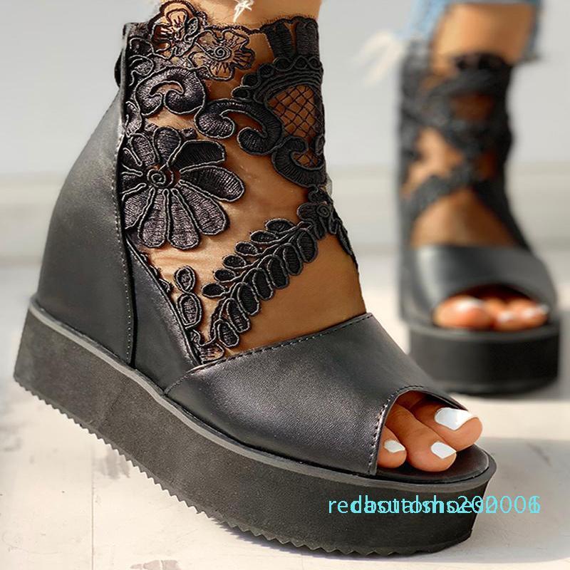 sandali tacchi alti delle donne di estate casuale etnici zeppe open toe altezza della piattaforma aumentando le scarpe delle signore grosso Zapatos de mujer R06