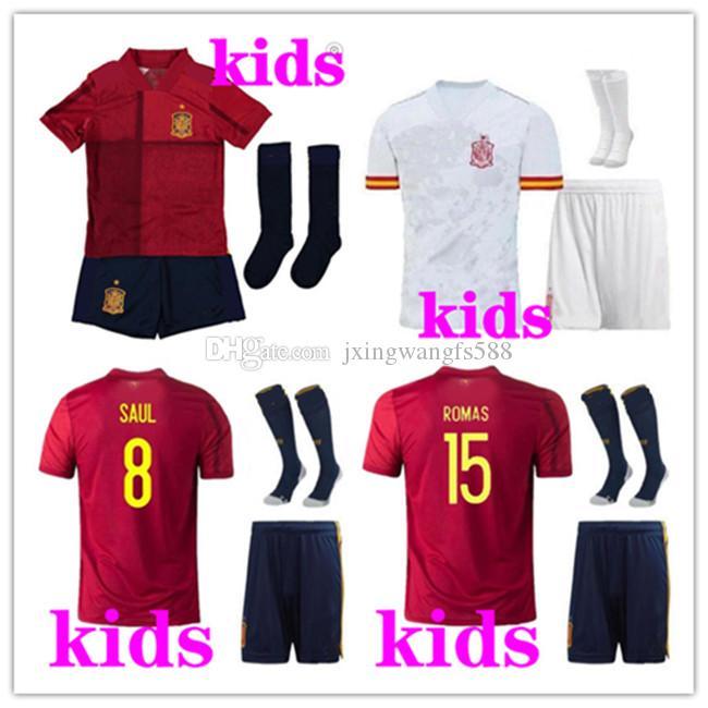 Kits de chenilles d'Enfants Europen Cup Espagne Enfants Enfants Jersey Kit 20/21 Ramos Isco Pique Sergio Morata Espagne Home Chemises de football