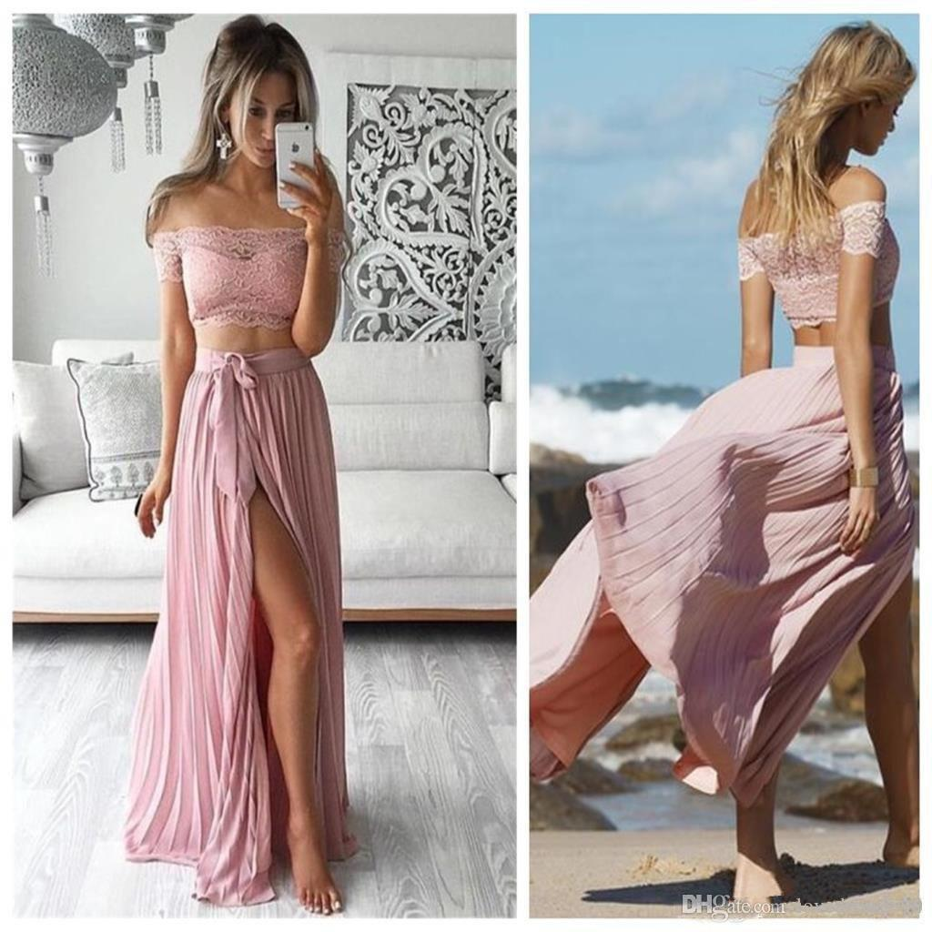 2019 Two Pieces Prom Dresses Lace Top Side Split Long Ruched Chiffon Beach Bridesmaid Dresses Cheap