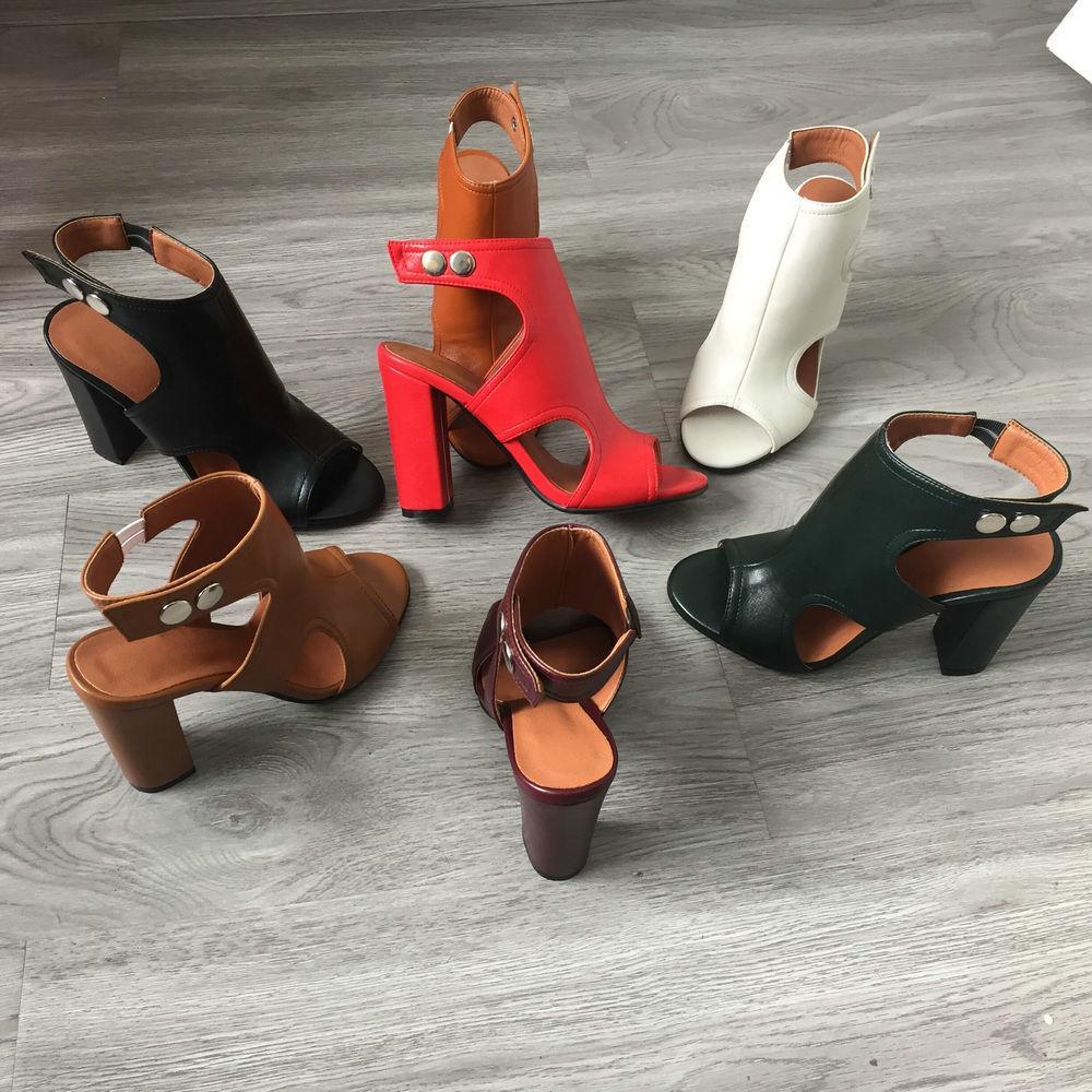 black open toe block heel sandals