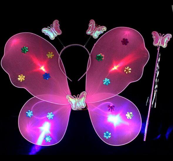Luminosa Borboleta Asas de Três Peças Conjunto de Colorido Flash De Seda Meias Asas Dos Desenhos Animados para Crianças Desempenho de Dança WL197