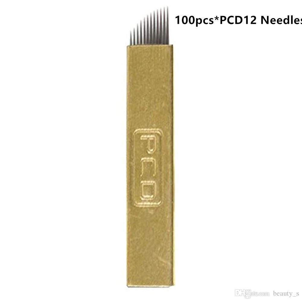 100PCS/Lot tattoo needles PCD12 Pins Permanent Makeup ink 3D Eyebrow Tattoo Blades Microblading Needles machine supplies Beauty Tools