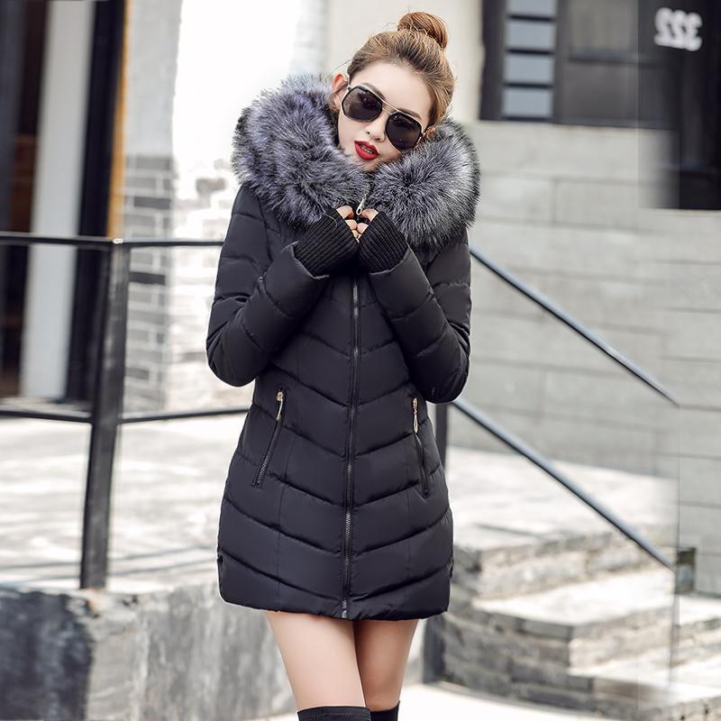 S-3XL женский пуховик Повседневная хлопковая женская зимняя куртка с капюшоном Long Parkas женский меховой воротник Теплая женская куртка Пальто фабричная SH190902