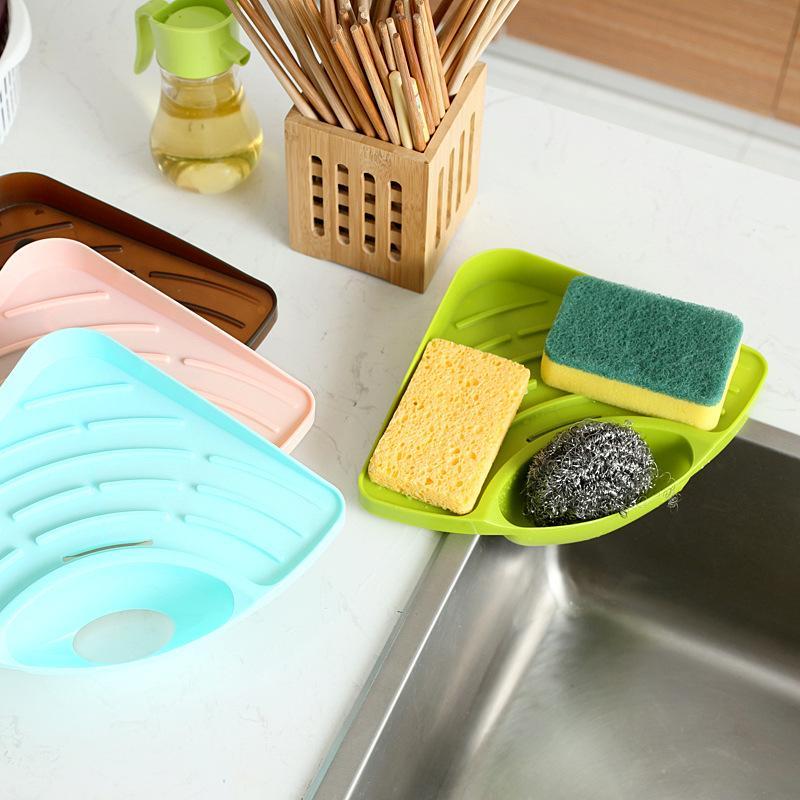 2019 Kitchen Sink Corner Storage Rack Sponge Holder Wall Mounted Dishes  Drip Rack Bathroom Soap Dish Wall Storage Rack From Gujiayuan08, $3.27 | ...