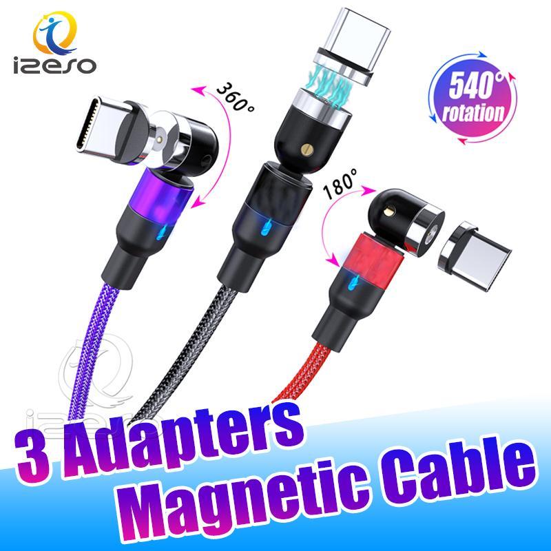2.4A USB Hızlı Şarj 3'te 1 Manyetik Kablo Mikro USB Tip C Naylon Örgülü hızlı Huawei LG izeso için Kordon Şarj
