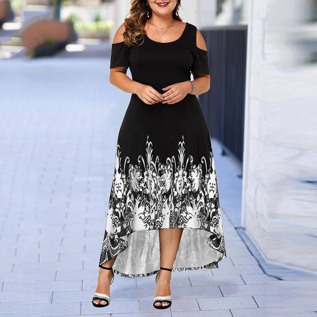 Evening Party Summer Plus Size Maxi Dress Women 5XL Short Sleeve Floral Printed Elegant Large Dress For Ladies vestidos