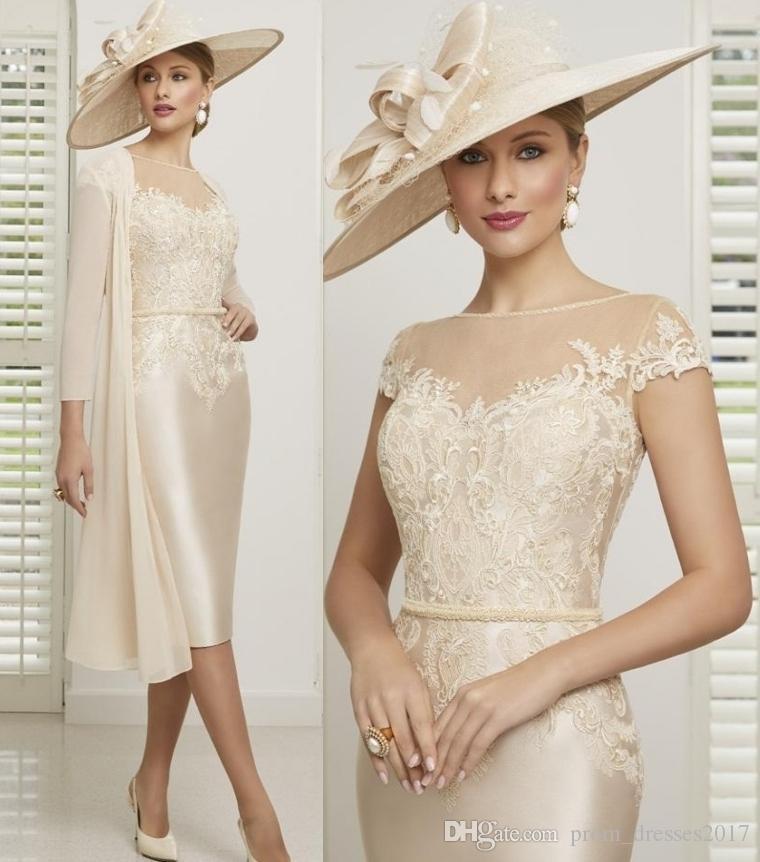 Gelin Modelleri Boyun Aplike Boncuklu Kanat Wedding Guest Önlük Kısa Kollu Diz Boyu İki Piece Anne Elbise Of Champagne Anne