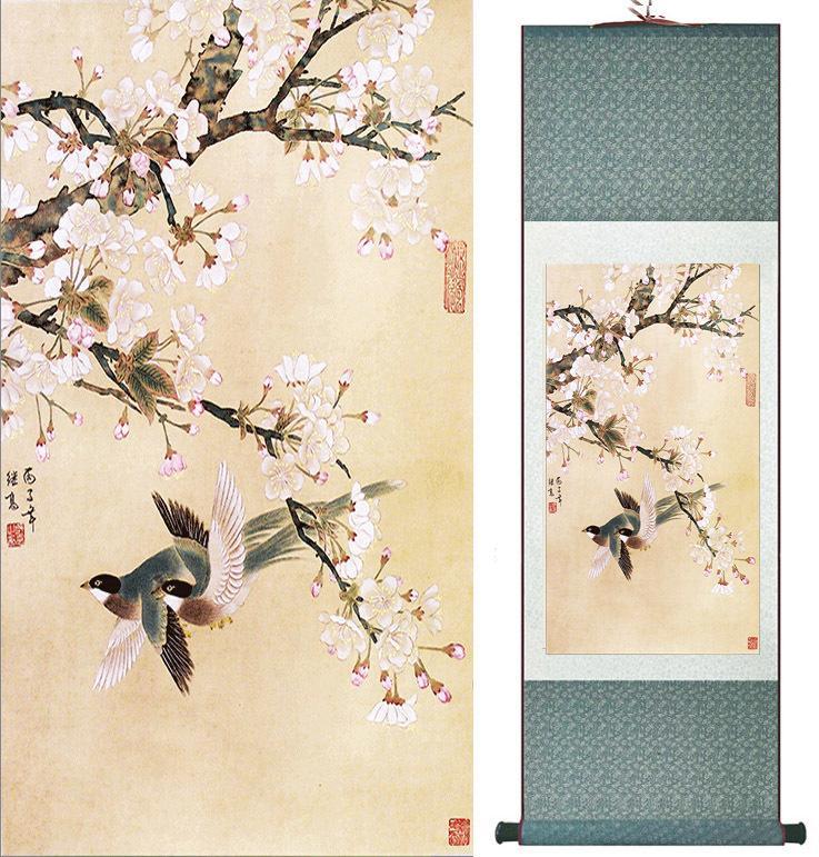 Arte Chino Pintura Pájaros Y Flores