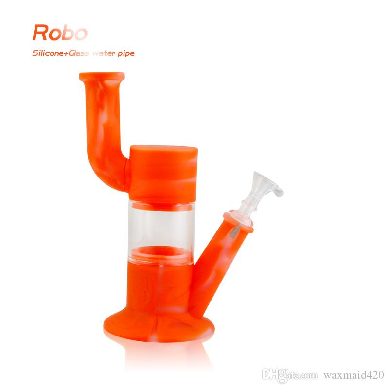 Waxmaid glass bong platinum cured silicone water pipes With Adapter and Bowl Inhale Perc Heady Water Pipe Free Shipping