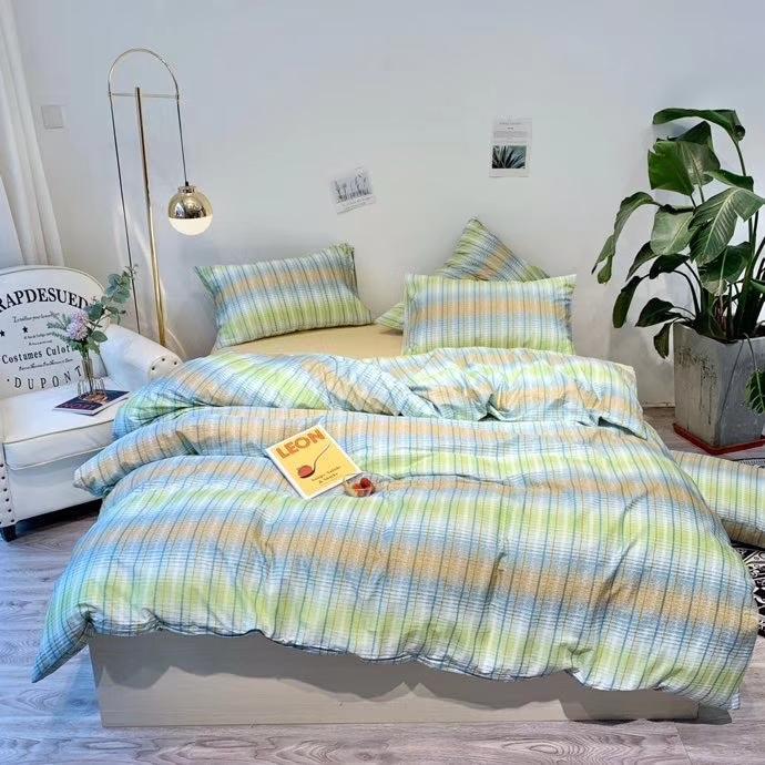 pamuk yatak seti 3adet 4adet hometexte ürün nevresim yatak örtüsü nevresim set reaktif pritning 4season kullanımı yeşil şerit dimi