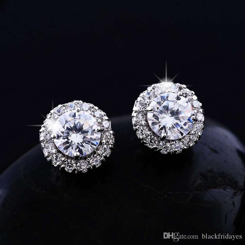 Orecchini pieno diamante rotondo della vite prigioniera orecchini zircone orecchini di diamanti pieno orecchini placcatura forniture di nozze di nozze