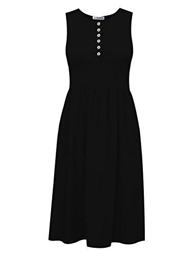 TAM Ware Womens Stylish Buttoned Sleeveless Knee Length Skater Tunic Dress