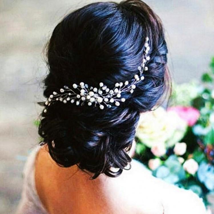 Main mariée mariage Accessoires cheveux Cristal Perle médaille d'argent de cheveux tête en métal Pièces de mariée Noiva Tiara Couronne cheveux Bijoux