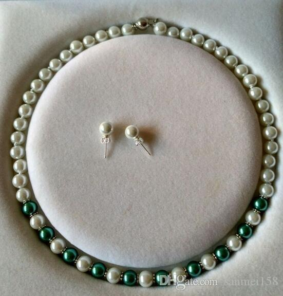 8mm South Sea White Shell Jade Gemstone Coral Necklace 18/'/'AAA