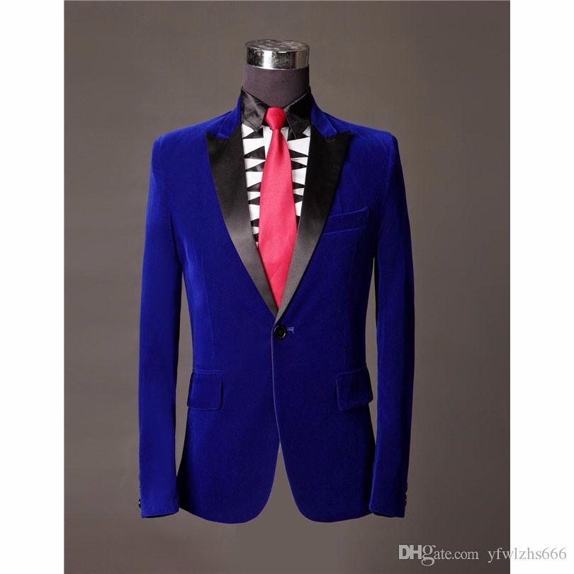 Classic Velveteen Peak Lapel Wedding Tuxedos Slim Fit Suits For Men Groomsmen Suit Two Pieces Prom Formal Suits (Jacket+Pants+Tie) 704
