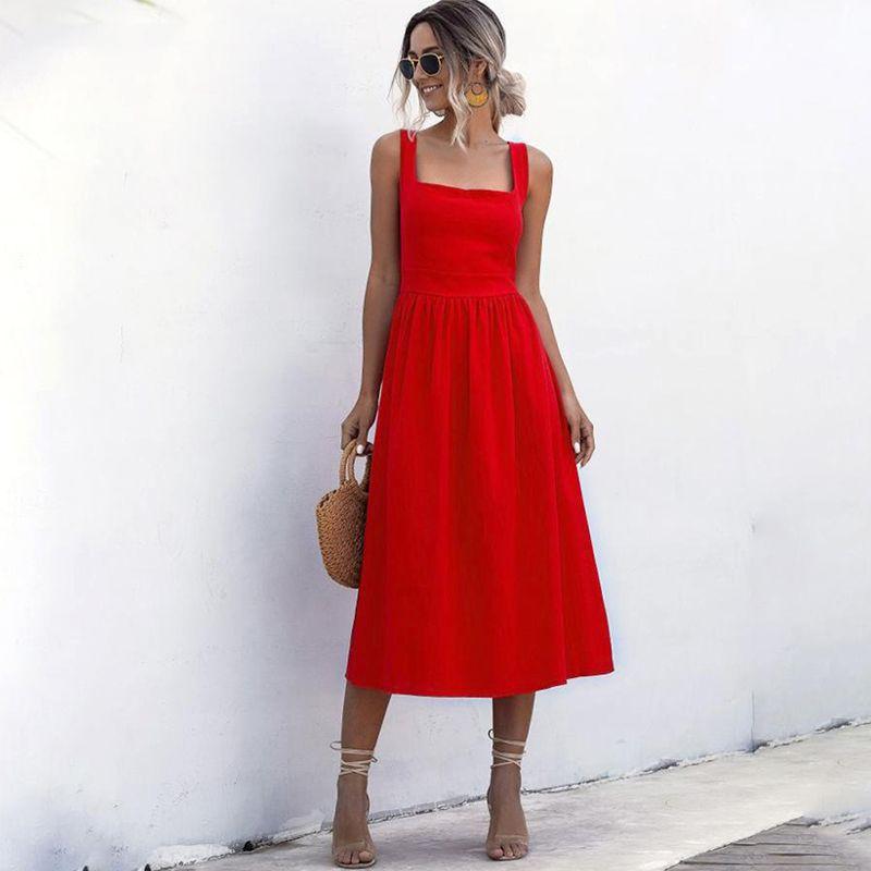 Femmes Robe longue dos nu Sexy Summer Casual Blanc Noir ruché Slip Midi Sundresses 2020 Mesdames plissés spaghetti Vêtements Strap
