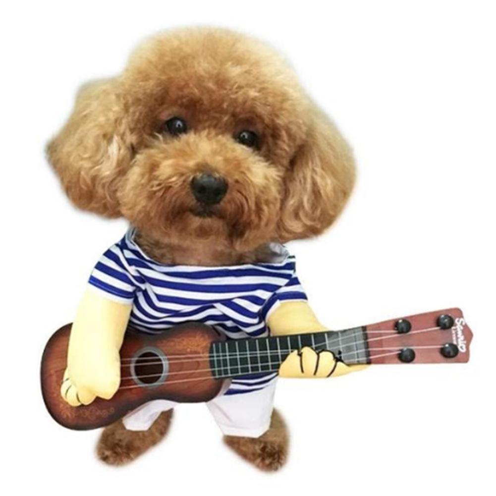 Köpek Kedi Kostüm Pet Guitar Player Cosplay Partisi Noel Yılbaşı Giyim Köpek Kediler Kostüm Pet Ürünler için