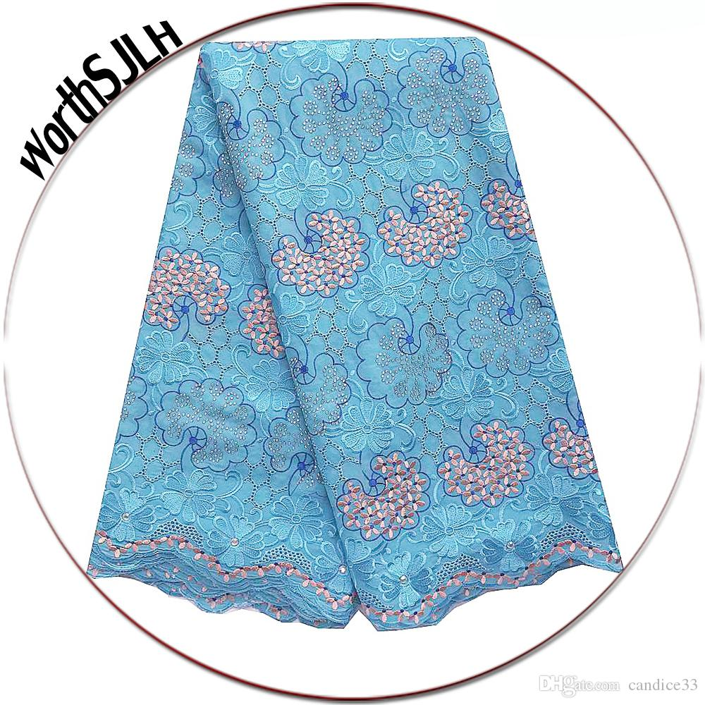 Luxury Rhinestones Swiss Voile Lace High Quality Swiss Cotton Voile African Fabric Lace 2019 White Sky Blue Dubai Lace Fabric