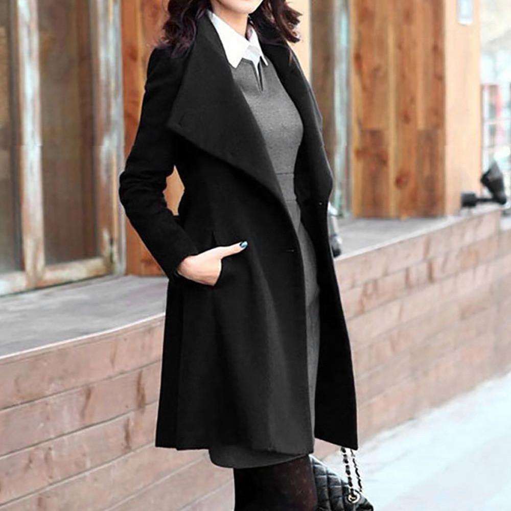 2019 casaco de inverno womens winter lapel lã casaco jaqueta jaqueta de manga comprida outwear outwear grande trincheira cinza longo mujer