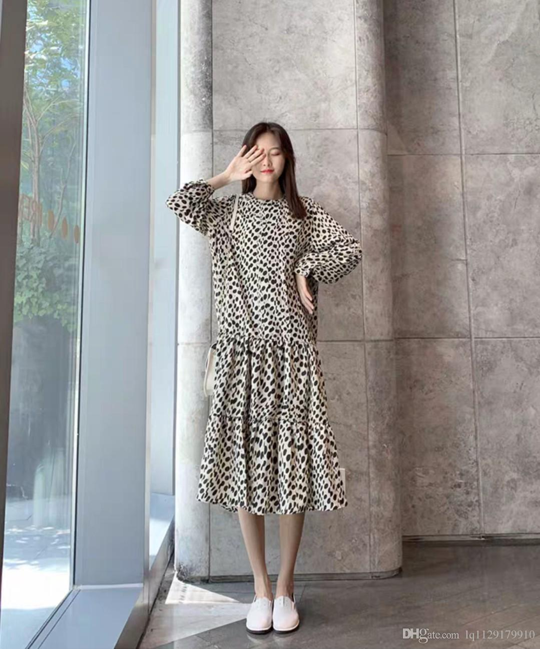 Chiffon dress autumn/winter 2020 new long-style long-sleeved large-size fat mm slimming age wave point two-piece suit