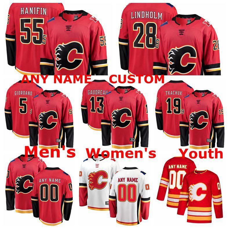 Calgary Flames Maglie Johnny Gaudreau Jersey Matthew Tkachuk Elias Lindholm Noah Hanifin Mark Giordano Hockey su ghiaccio pullover su ordinazione cucita
