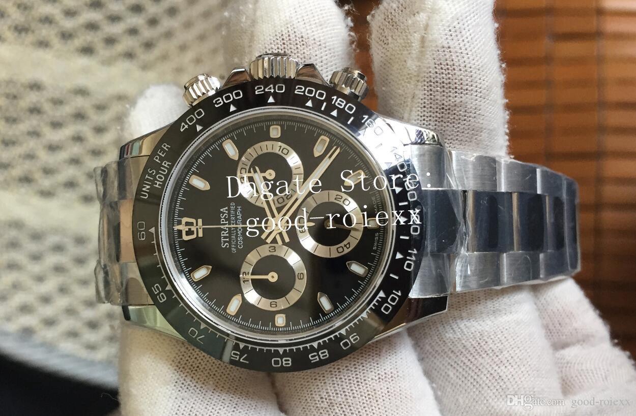 Mens Chronograph Uhren Uhren Automatische Cal.4130 Uhr 904l Stahl Keramik Kif Stoßdämpfer Kosmograph Männer Sport 116506 ETA Armbanduhren