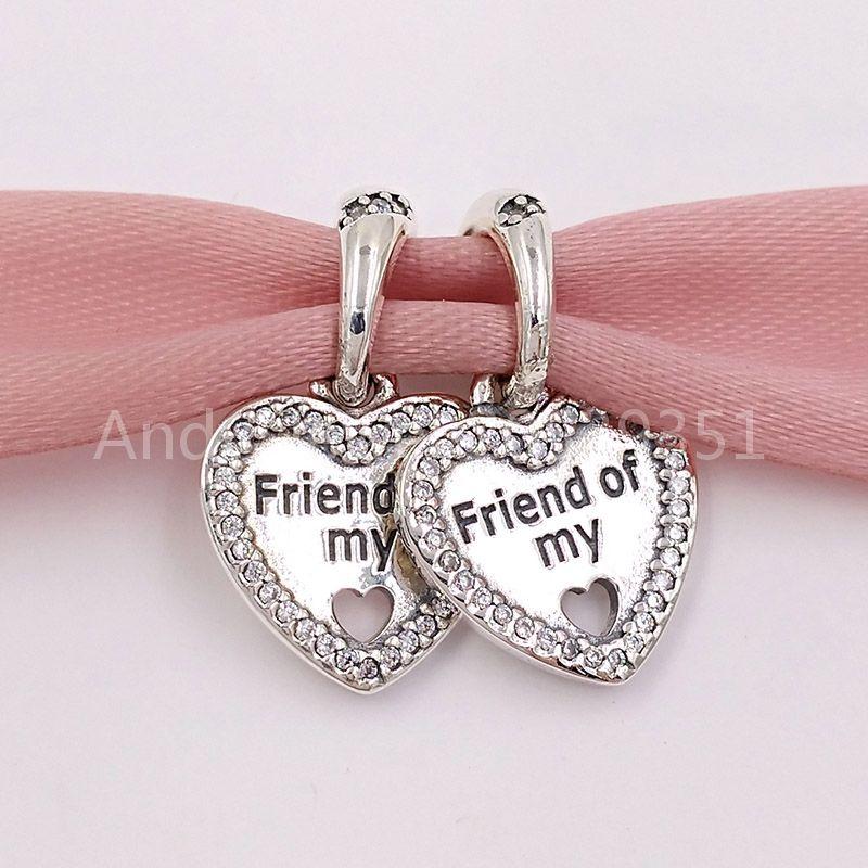 Beads de prata esterlina autêntica 925 corações de amizade pingente charme encantadores se encaixa europeu pandora estilo jóias pulseiras colar 79214