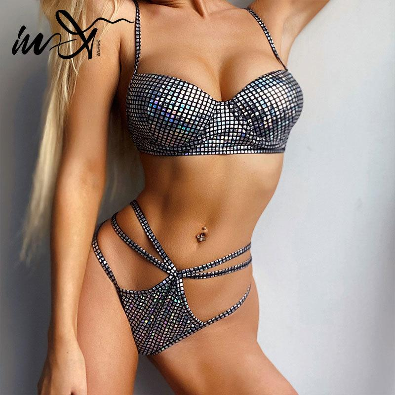 In-X 2020 Gümüş kadın seksi dize mayo bikini yukarı itin Underwire mayo kadın Yaz mayo Thong biquini bikini