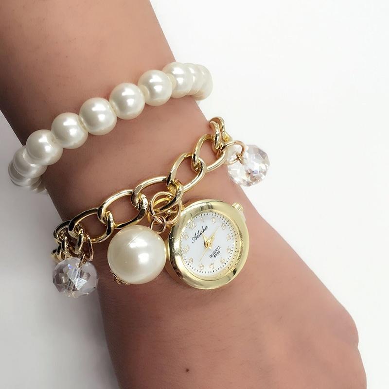 Le donne perla strass bracciale orologio da polso