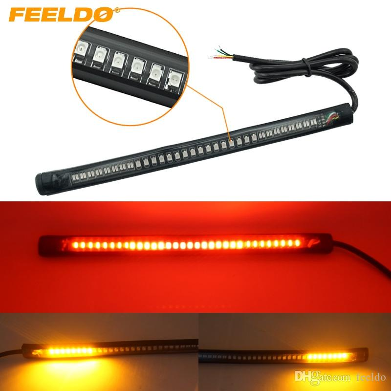 FEELDO Red and Amber Motorcycle Car 48LED LED Turn Signal Light Tail Brake Stop License Plate Lamp Rear Light #2376