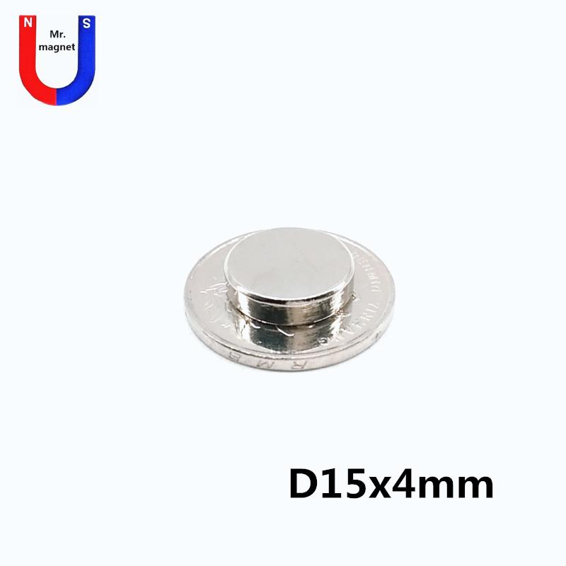 20pcs Hot sale D15*4 15*4mm D15x4mm 15mmx4mm 15x4mm D15*4mm rare earth neodymium magnets 15X4 15*4 NdFeB with nickel coating free shipping