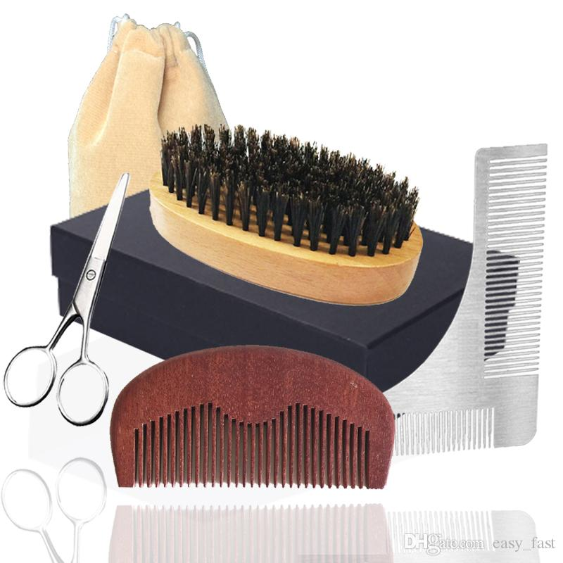 2020 New 6in1 Boar Bristle Beard Brush, Pocket Wood Comb, Scissor & Shaping Temple Men Facial Makeup Beard Care Styling Grooming Trimming