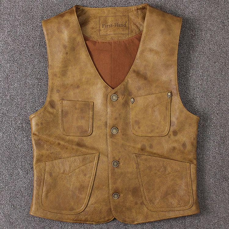 Première main locomotives pour hommes Gilet mince et court-coat Manteaux simple boutonnage Première couche en cuir de vachette ciré