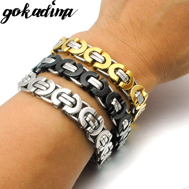 Gokadima Men Bracelet Gold Color Stainless Steel Flat Byzantine Chain bracelet for Christmas gift Hip Hop Jewelry