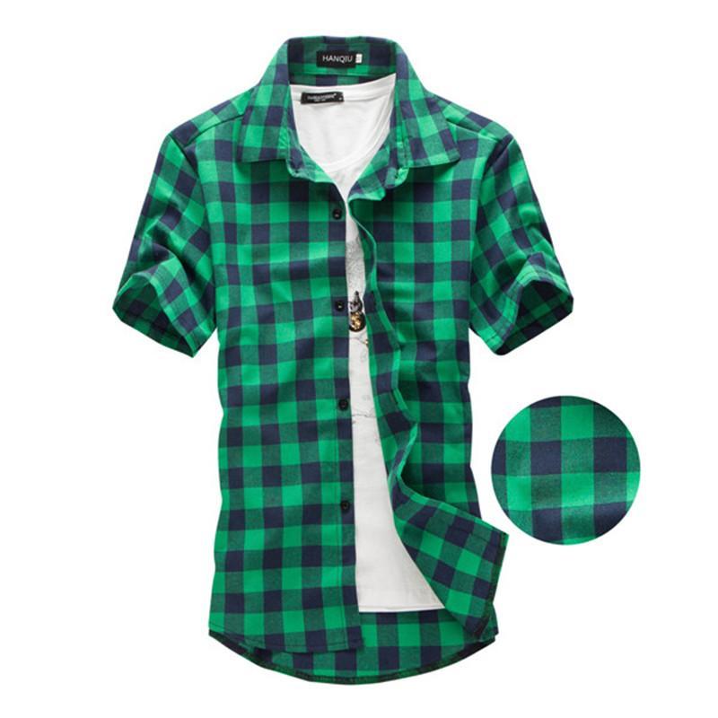 синие и зеленые клетчатые рубашки мужчины 2020 новое поступление летние мужские повседневные рубашки с коротким рукавом мода сорочка Homme Men Dress
