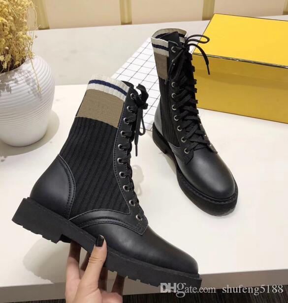 2021 Hot Otoño Invierno Popular Oreo Mid-Long Stretch Mujeres Zapatillas de deporte Outtoor Casual Marca Zapatos Cálidos Damas Cordones Calcetines Zapatos Botas 35 ~ 41