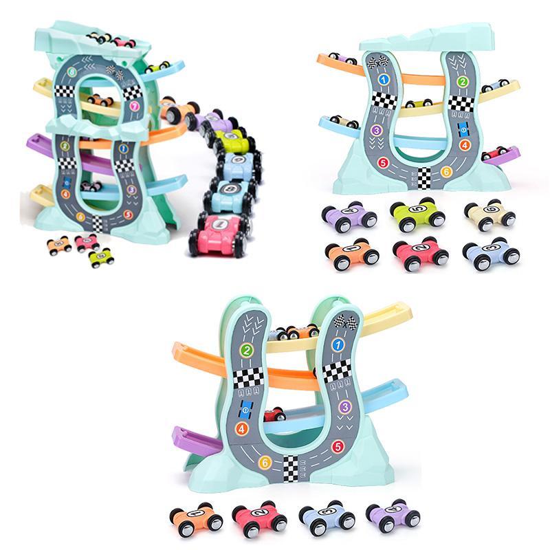 Voitures de course Modèle jouets pour les enfants Racer Ramp Voie ferrée avec Planeurs petite voiture jouet pour garçons Cadeaux d'anniversaire pour enfants