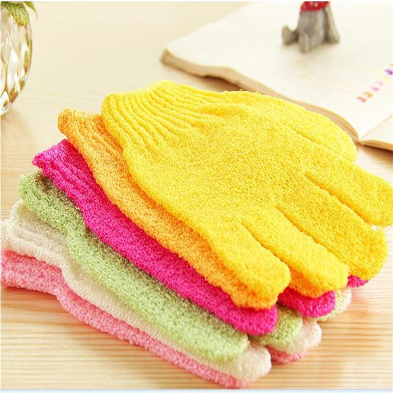 2Pcs / Set Badehandschuh Exfoliating Wash Haut Handschuhe Schaumbad Körpermassage Reinigung Scrubber Skid Resistance Dusche Werkzeuge