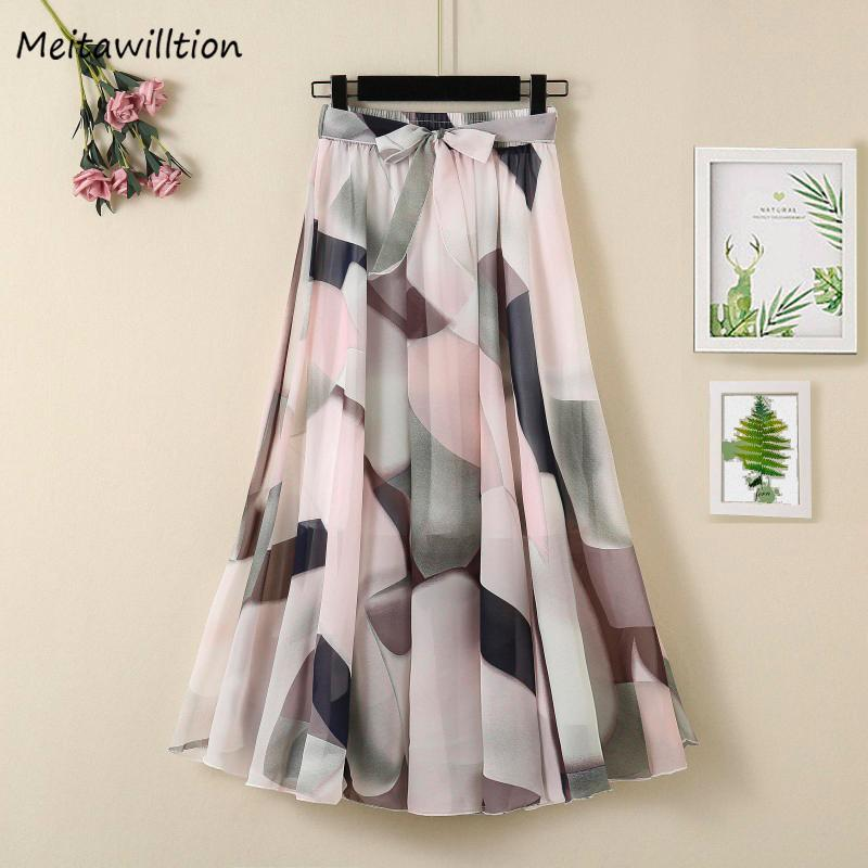 wholesale Print Chiffon Skirts Women Summer Korean High Waist A-Line Pleated Skirt 2020 Elegant Office Midi Skirt