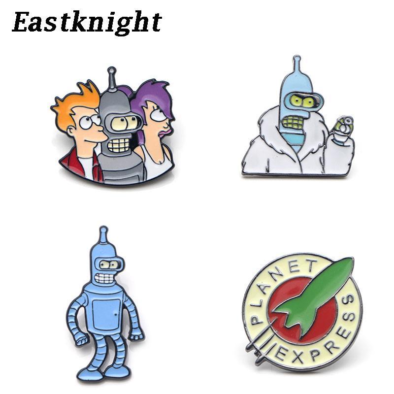 K649 Cartoon Futurama Metall Emaille Pin und Broschen Rucksack / Taschen-Abzeichen Denim Brosche Kragen Schmuck Geschenke 1pcs